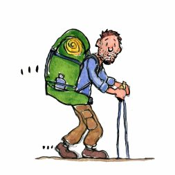 Drawing of a backpacker with a mid size pack