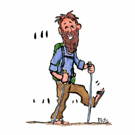 Drawing of a backpacker with a light pack