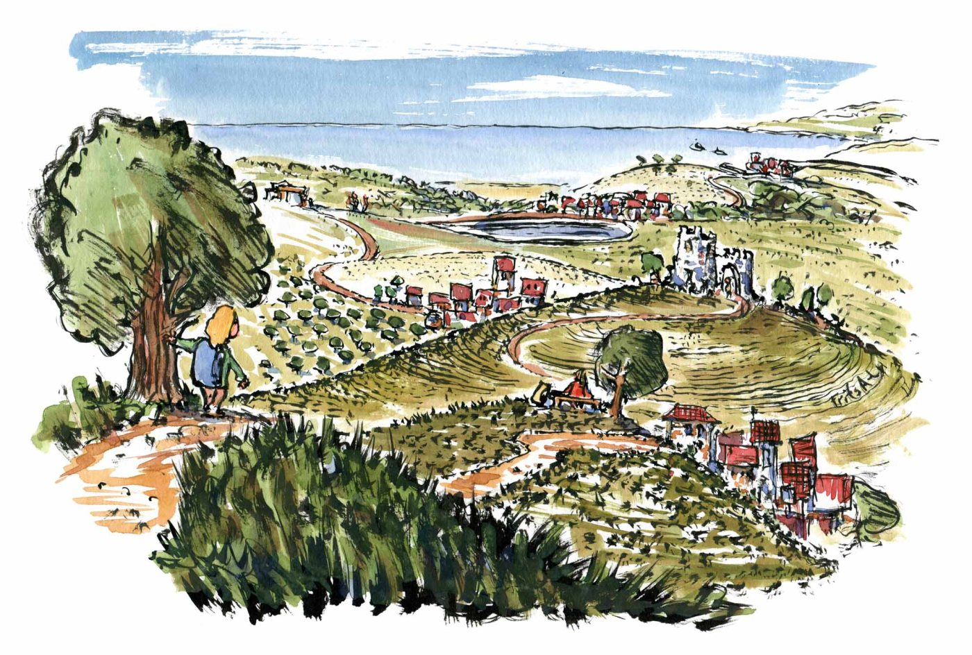 Drawing of a landscapes with towns and places connected with hiking trails. illustration by Frits Ahlefeldt