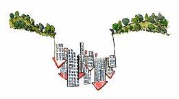 landscape-city-gap-reversed-with-hiker-color-illustration-by-frits-ahlefeldt