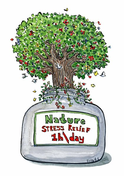 Drawing of a tree in a medicine jar, with the text 1h / day