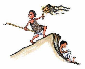 prehistoric-man-and-phone-man-illustration-by-frits-ahlefeldt