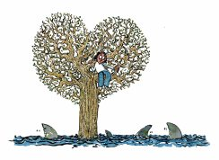 woman-climbing-heart-tree-for-shark-filled-flooding-illustration-by-frits-ahlefeldt
