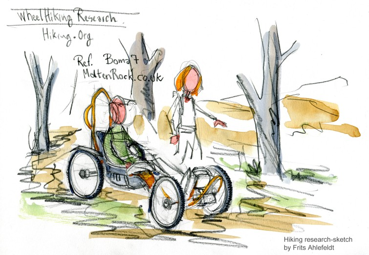 Drawing of a bike like electrical wheelchair for trail use