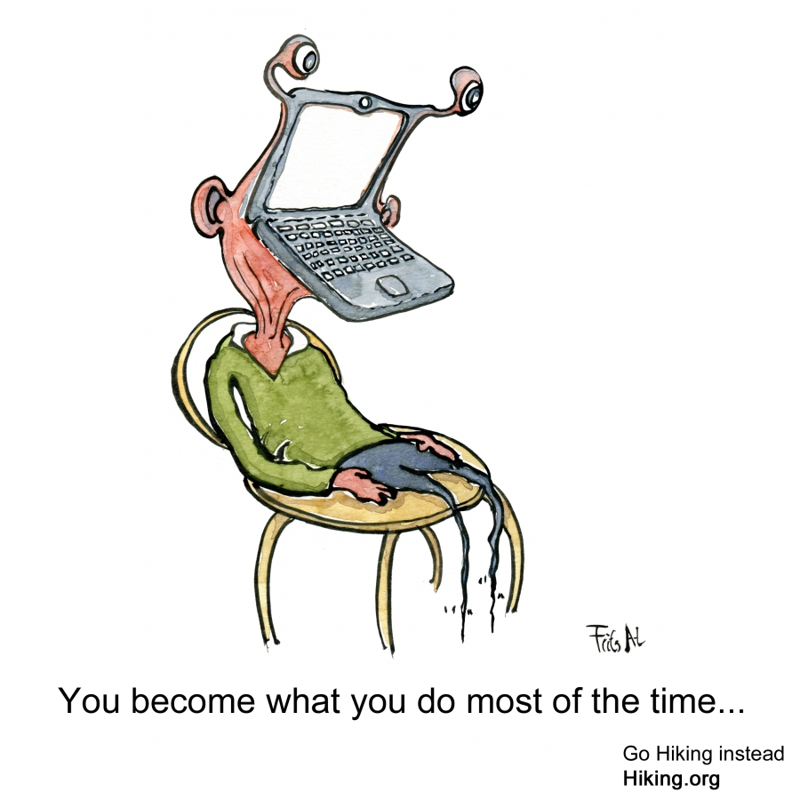 drawing of a man with a laptop as head and no legs