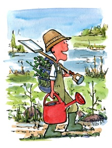 drawing of a man planting trees on hiking trail