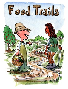 drawing of a trail-ranger sharing food with a hiker
