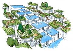 Drawing of a nature architecture cityscape, with design from boxes