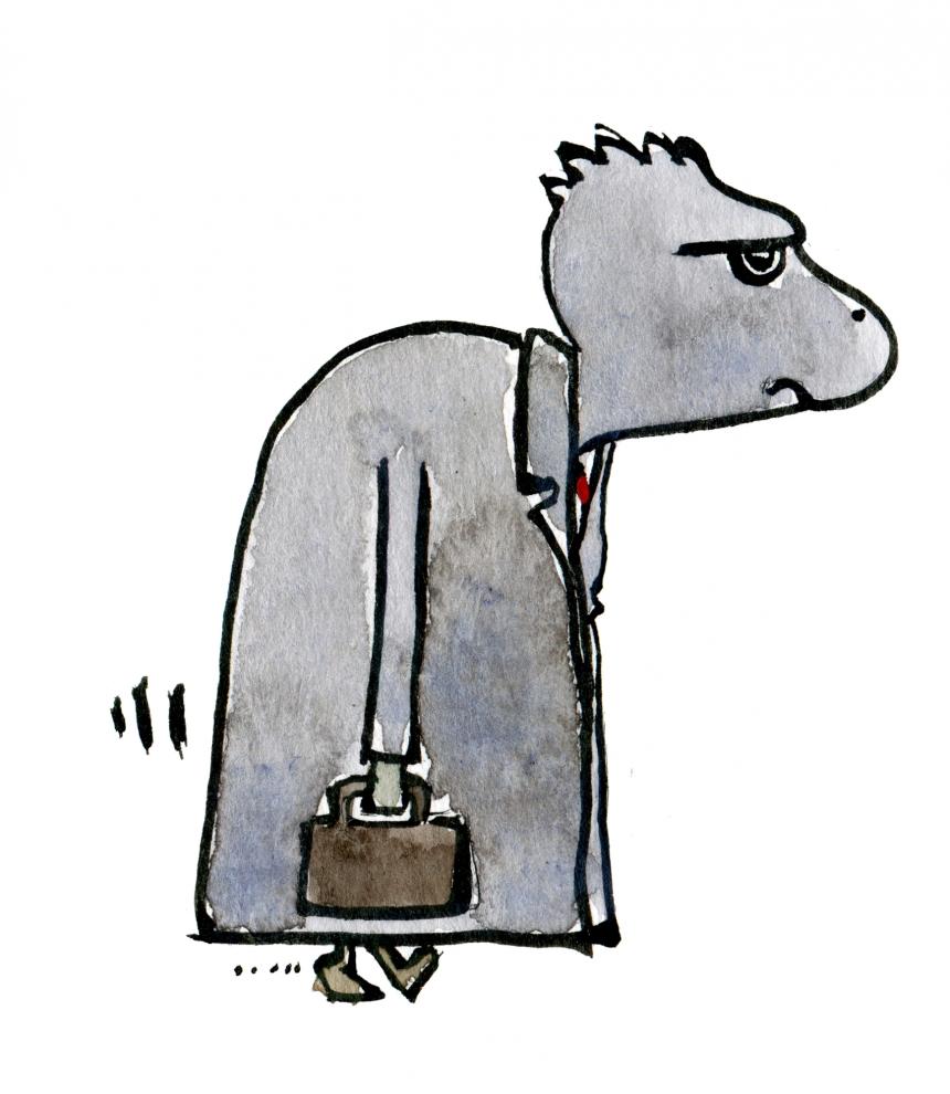 drawing of a grey man walking