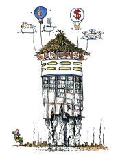 Drawing of a backpacker looking at a resort