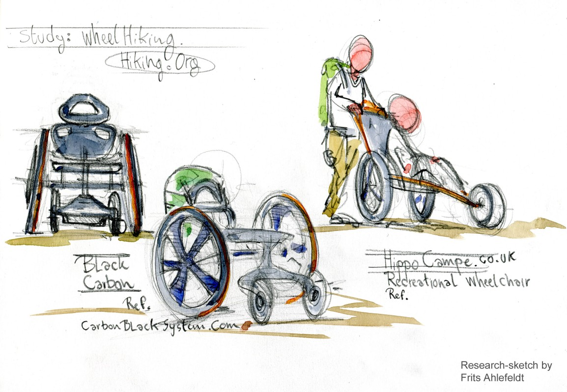 wheelchair for hiking research sketches