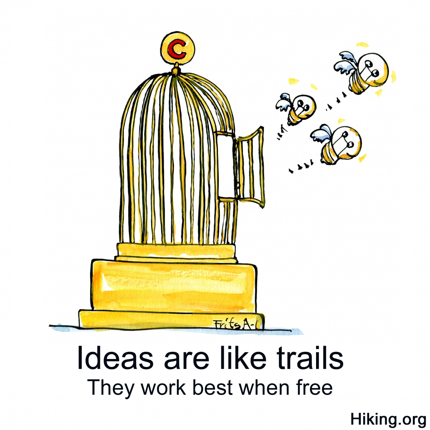 Ideas flying out of golden cage