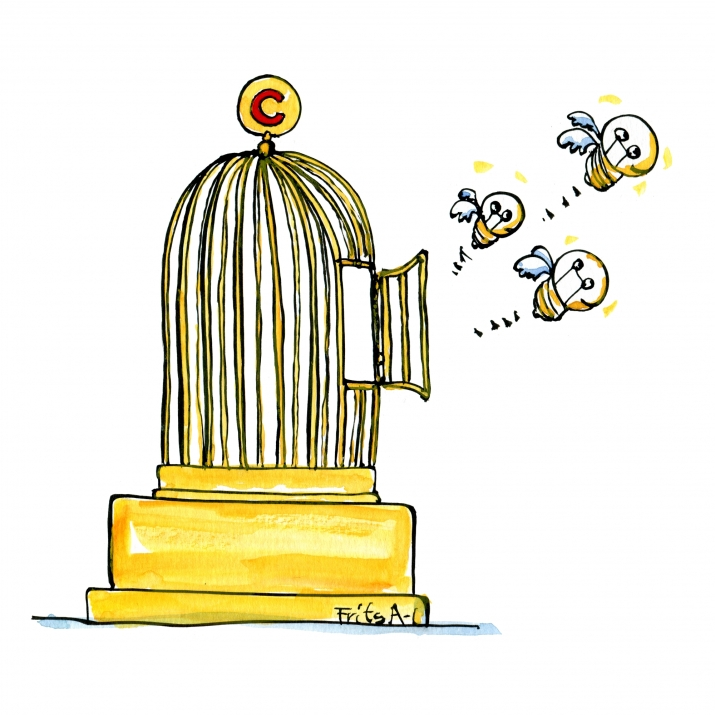 Drawing of idea light bulbs flying out of golden gage