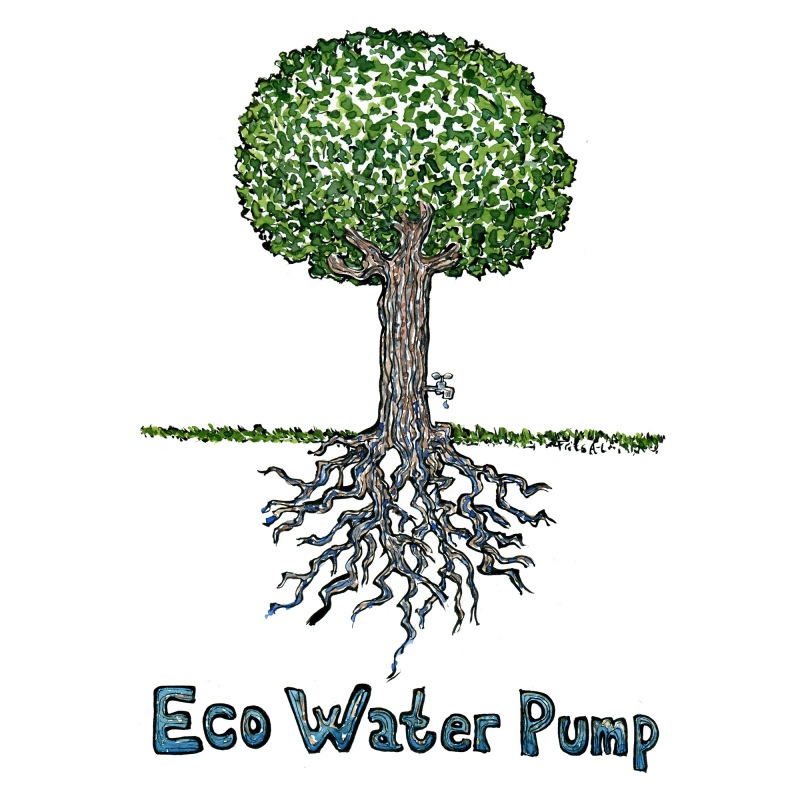 Drawing of a tree with a water tap