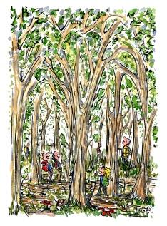 Drawing of hikers between huge trees