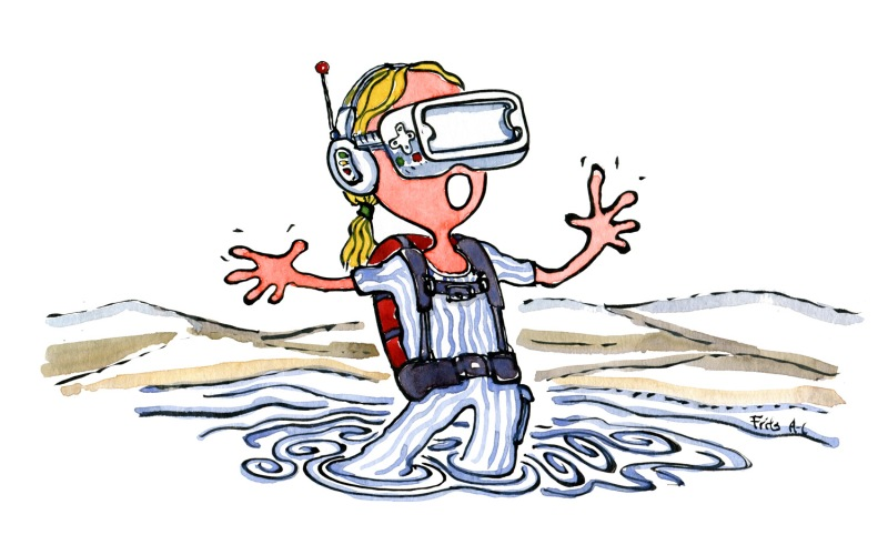 Drawing of a girl with backpack and a virtual reality mask out on the trails