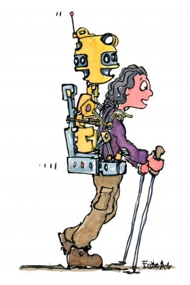 drawing of a hiker with a robot in a baby carrier