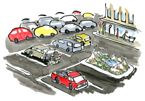 drawing of a car sized nature model in a car lot