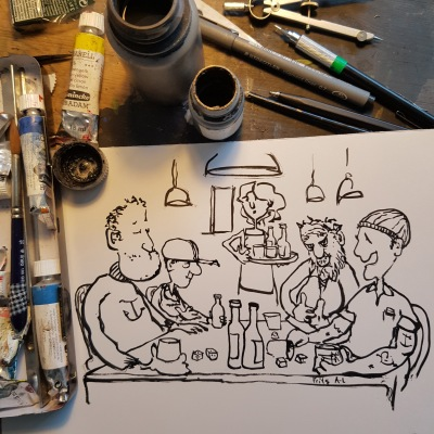 Ink drawing of sailors in an old pub