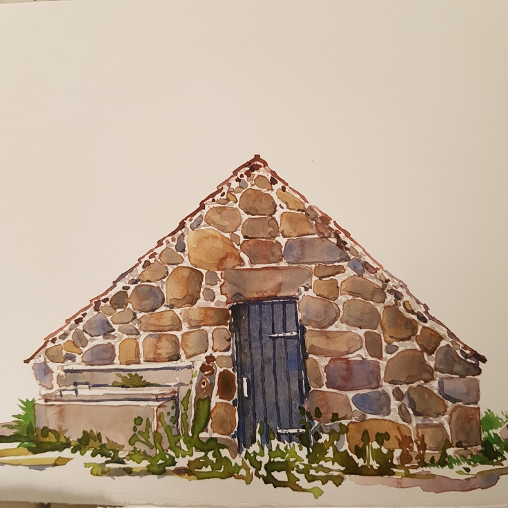 Drawing of a stone cottage by Frits Ahlefeldt