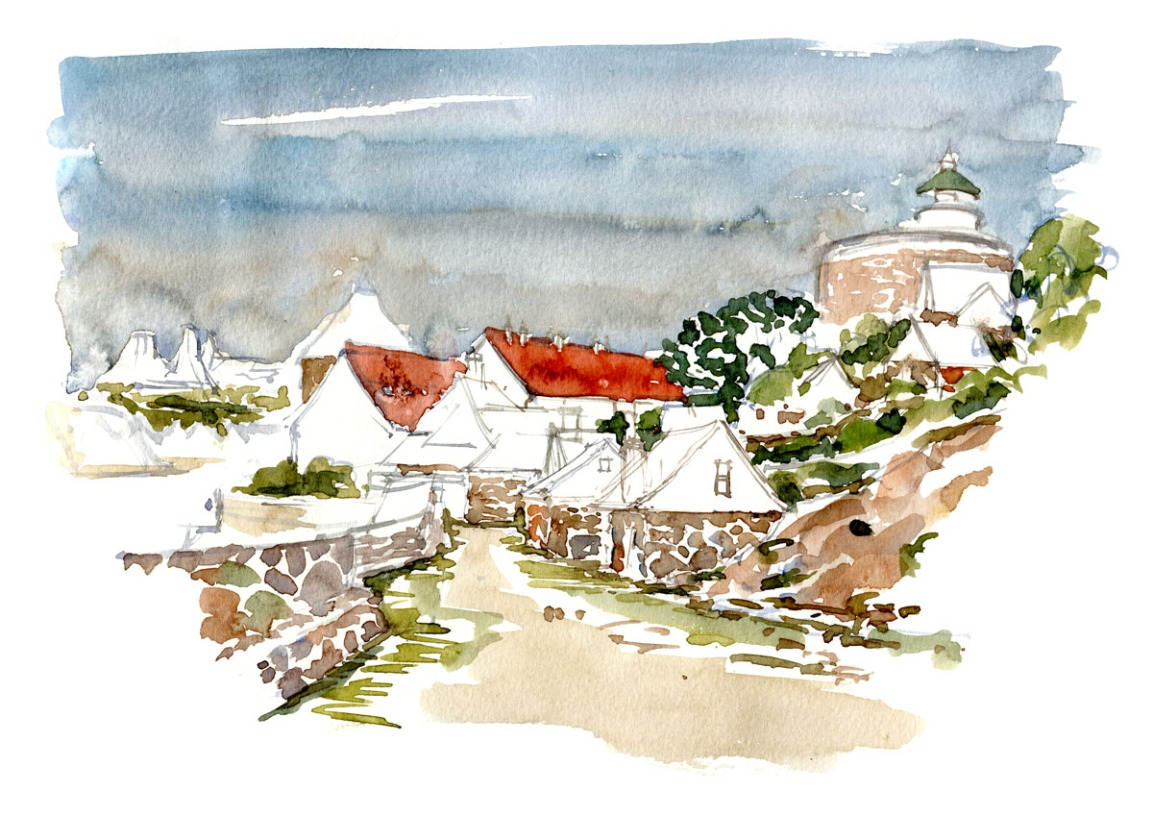 Watercolor notes from an old coastal community