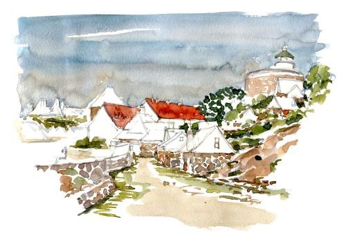 Watercolor of ChristiansOe fort, ertholmene, Baltic Sea