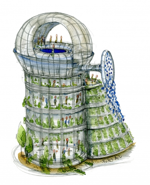 Drawing of a radical green urban eco house by Frits ahlefeldt