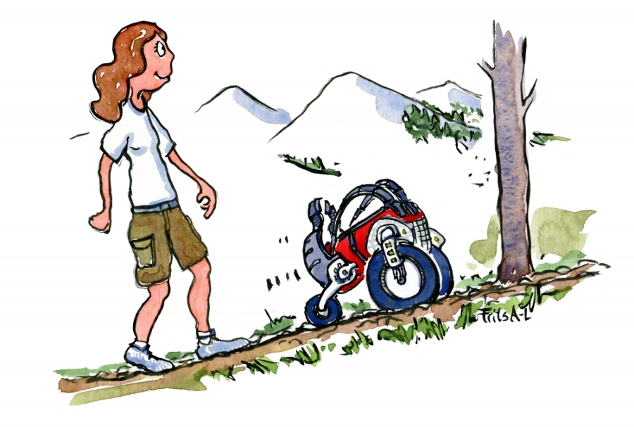 illustration of a girl walking with a self-driving backpack