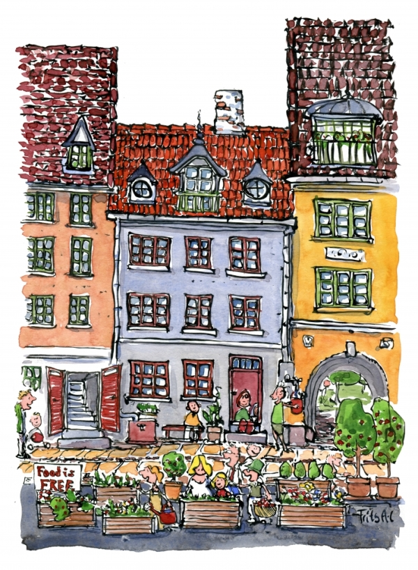 Drawing of growing food along the sidewalks in the cities