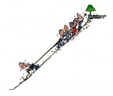Drawing of a team connected by a rope, some dragging together one dragging in the other direction
