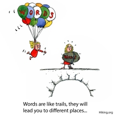 illustration girl flying with balloons that spells words, another stand with a huge stone, with words written on it