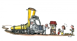 Drawing of a truck with a very long straw stopping by a small well