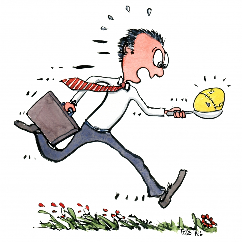 man running with an egg timer illustration