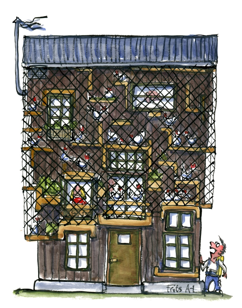 Drawing of a house with people and hens living on the facade