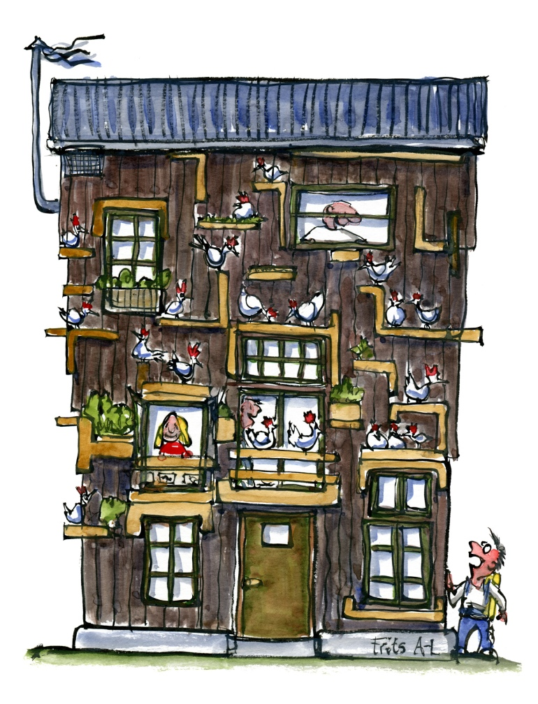 chicken-and-people-house-visit-co-existence-no-fence-illustration-by-frits-ahlefeldt