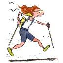 Drawing of an ultra trail hiker walking fast