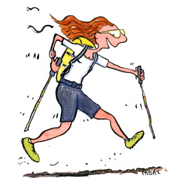 Drawing of an ultra trail hiker walking fast
