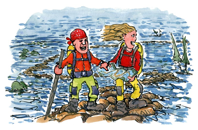 illustration of two hikers in a flooded landscape