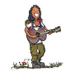 Drawing of a woman with a guitar, hiking with a backpack and an instrument