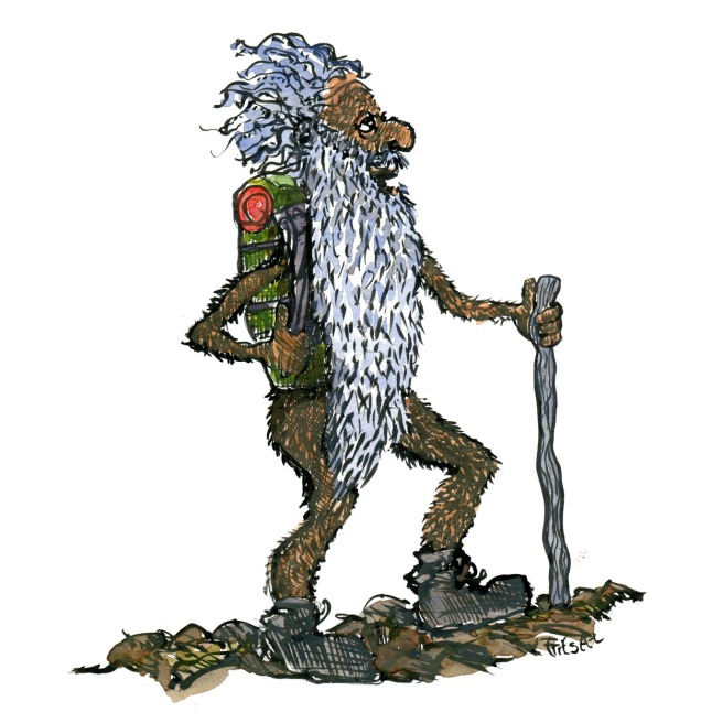 Drawing of an fur man, with a backpack and a long beard