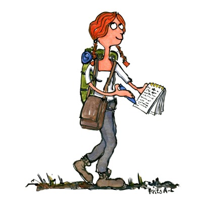 Drawing of a woman walking with notebook and pen, writing