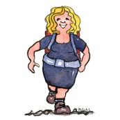 Drawing of a woman smiling and walking