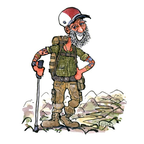 Drawing of an veteran soldier gone hiking