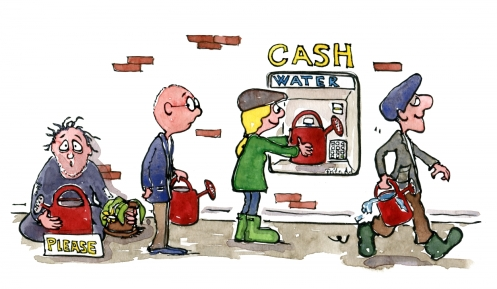 Drawing of people taking water out on a money cash mashine