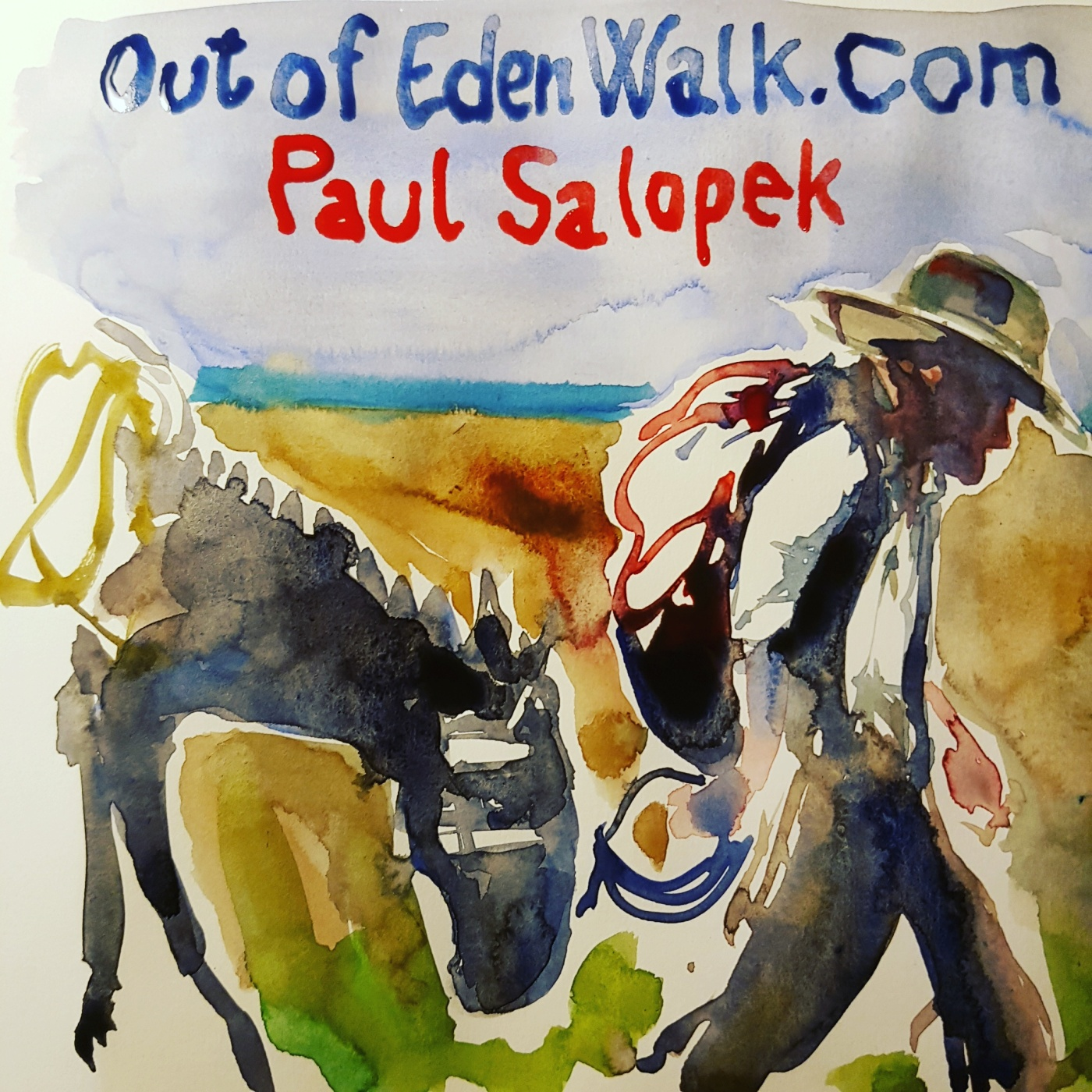 Watercolor of long distance walker and writer Paul Salopek