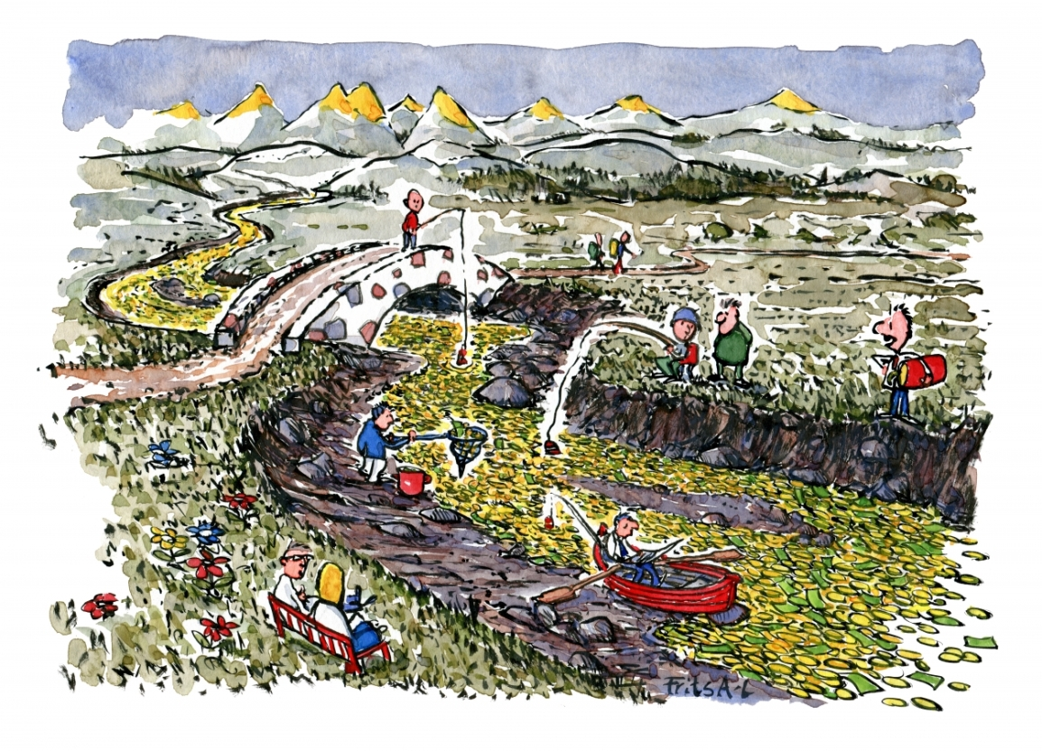 Drawing of people fishing in a river of money illustration by Frits Ahlefeldt