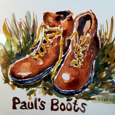 Watercolor sketch of Paul's boots. Watercolor by Frits Ahlefeldt