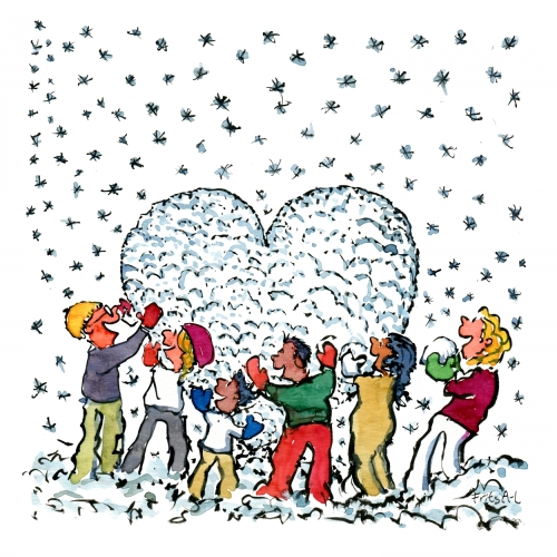Group of people building a snowheart together