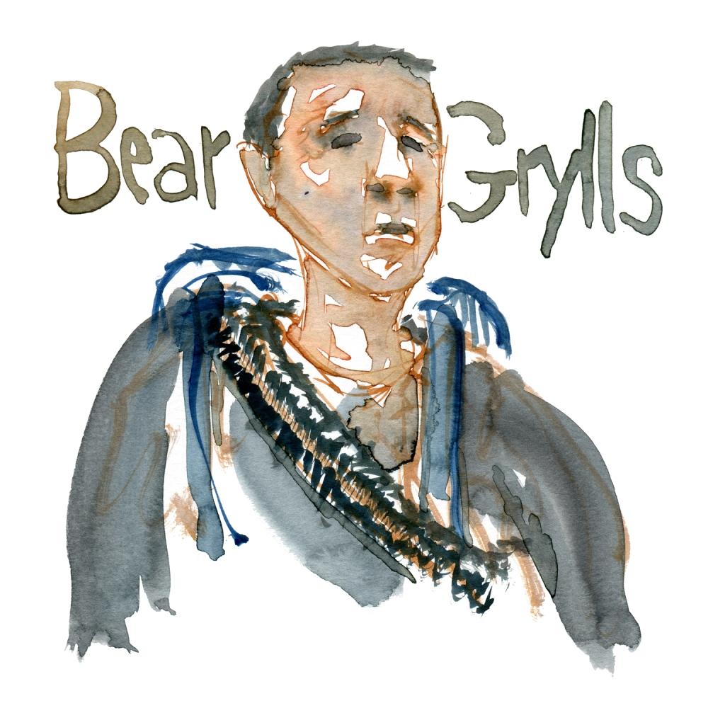 Watercolor sketch of Bear Grylls, portrait by Frits Ahlefeldt