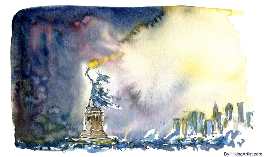 Drawing of the statue of liberty and New York in a storm